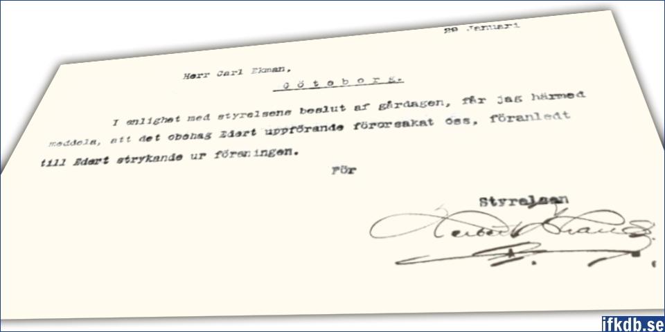 Den 29:e januari 1908 skickade styrelsen ut fem identiska telegram till var och en av kuppmakarna.