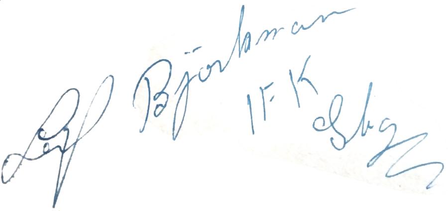 Leif Björkman, signatur