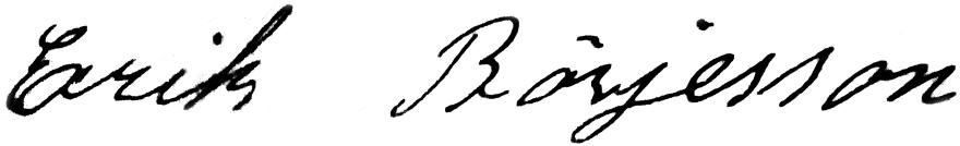 Erik Börjesson, signatur
