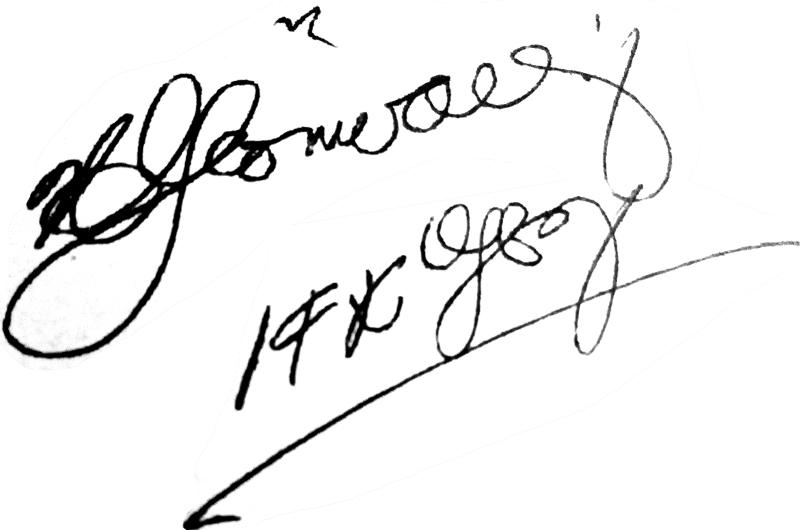 Helge Grönvall, signatur