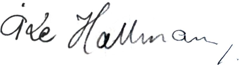 Åke Hallman, signatur