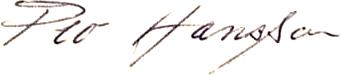 Per-Olof Hansson, signatur