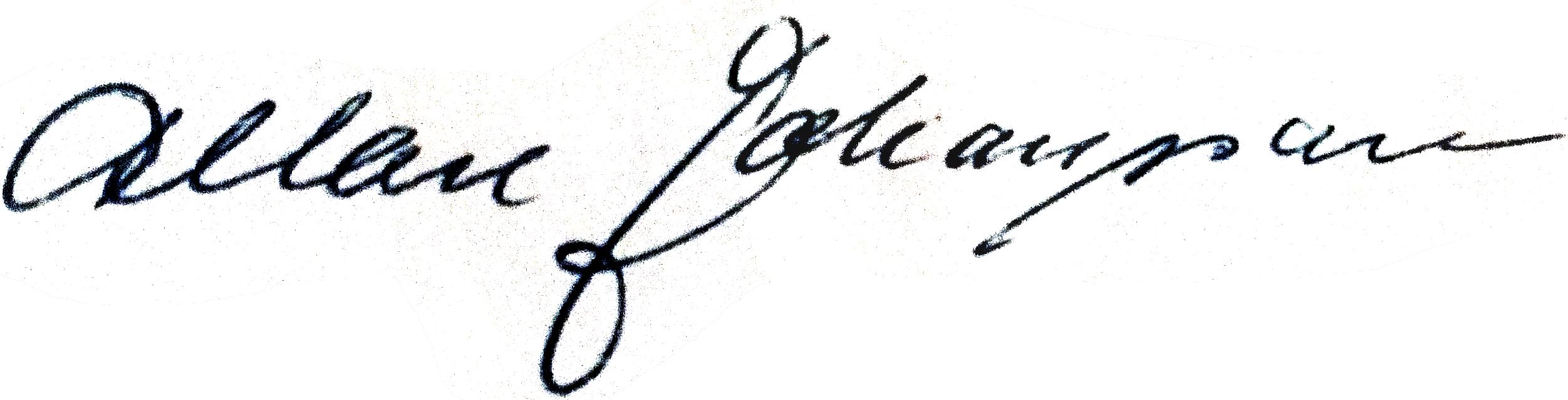 Allan Johansson, signatur
