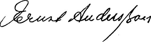 Ernst Andersson, signatur