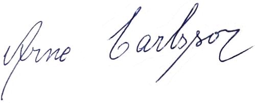Arne Karlsson, signatur