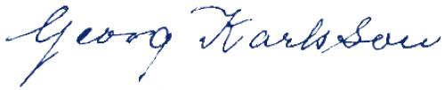 Georg Karlsson, signatur