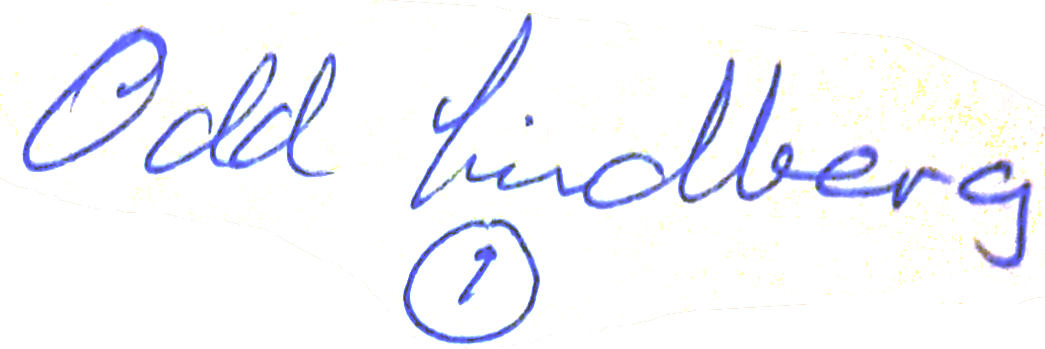Odd Ivar Lindberg, signatur