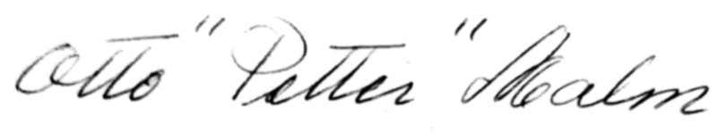Otto Malm, signatur