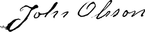 John Olausson (Olsson), signatur
