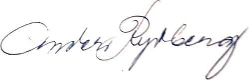 Anders Rydberg, signatur