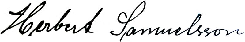 Herbert Samuelsson, signatur