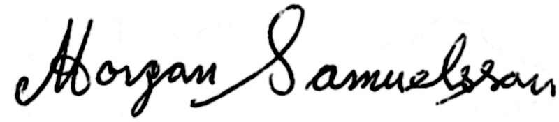 Morgan Samuelsson, signatur