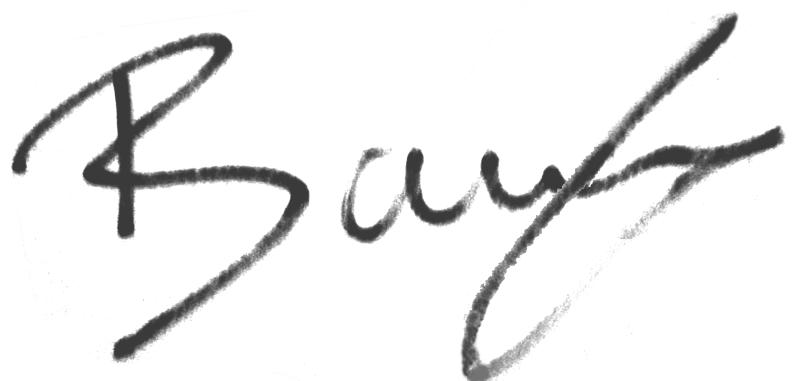 Junes Barny, signatur